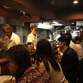 The restaurant can get very crowded but the turnover rate is really high. Most customers eat and go.