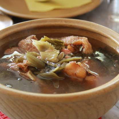 Nila sop - lightly fried Tipapia fish cooked with preserved vegetables served in clear soup