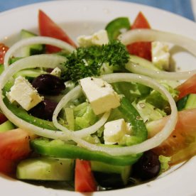 Greek salad - It's hard to create the kind of Greek salad that you get in Greece because the tomatoes and onions are just different. The feta cheese tasted so-so only.