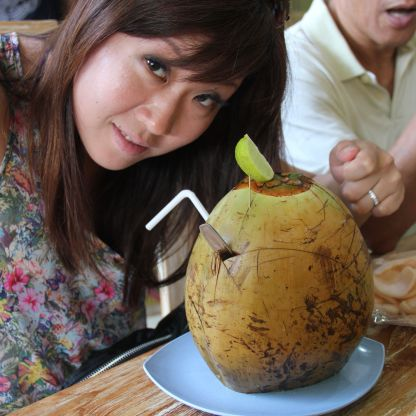 The coconut in Bali tastes nothing like those Thai coconuts - very bland.