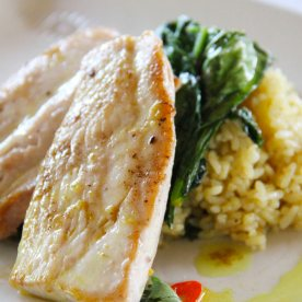 Pan roasted mahi mahi - perfectly seared fish with fragrant rice.