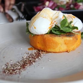Pumpkin, feta polenta with poached eggs